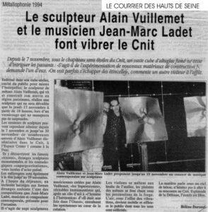 Courrier des Hauts de Seine - Le sculpteur Alain Vuillemet et le musicien Jean-Marc Ladet font vibrer le CNIT