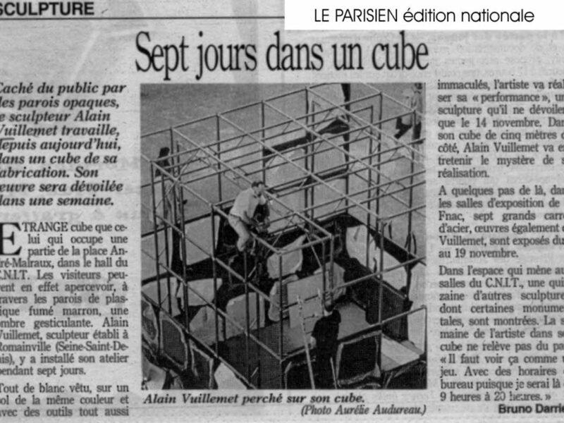 Sept jours dans un cube le Parisien Edition Nationale