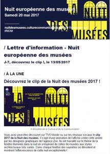 Nuit européenne des musées 2017-Lettre d'information du Ministère de la Culture.