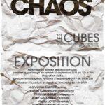 """L'invitation pour l'exposition CHAOS aux nouveaux ateliers d'Alain Vuillemet """"Les Cubes"""
