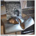presse lejsl Autun Sculptures dans la ville Photocopieur sculpture inox