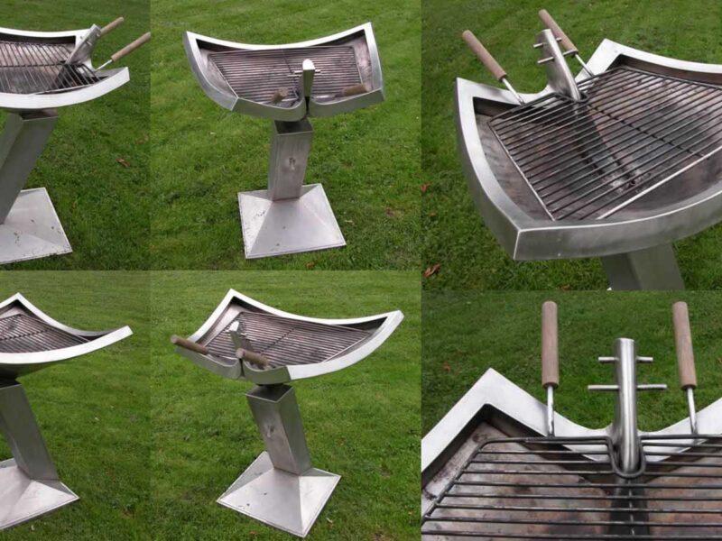 Un barbecue sculpture pièce unique matière inox