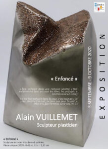 """Carton d'invitation exposition Ordre au chaos sculpture inox """"Enfoncé"""""""